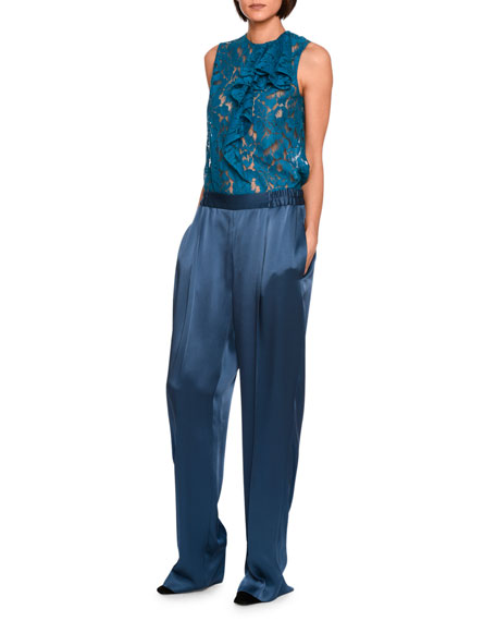 Cicely Satin Wide-Leg Trousers, Blue