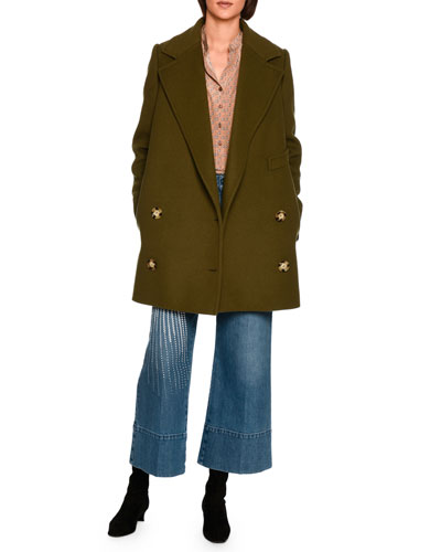 Edith Double-Breasted Car Coat, Dark Green and Matching Items