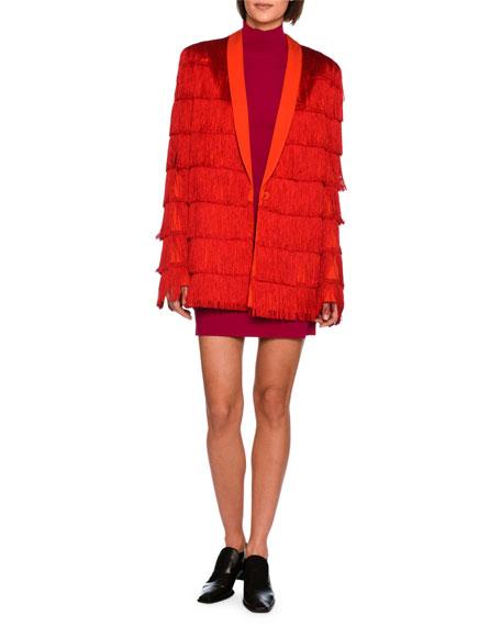 Tia Tiered Fringe Men's Blazer, Bright Red