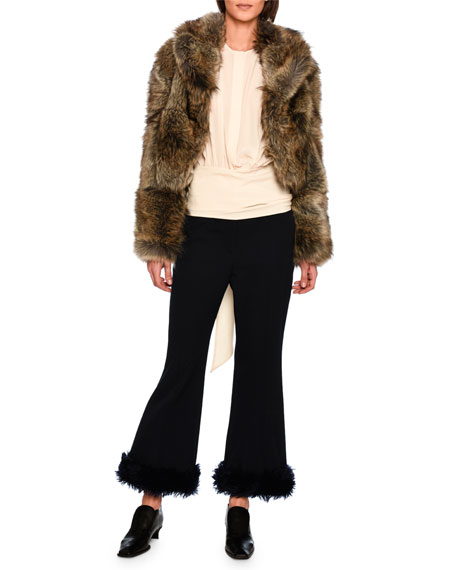 Malina Flare-Leg Trousers with Faux Fur Cuffs, Dark Blue