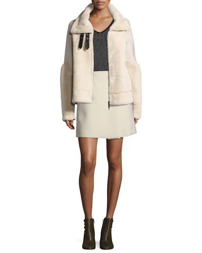 Faux Fur Bomber Jacket, Cream and Matching Items