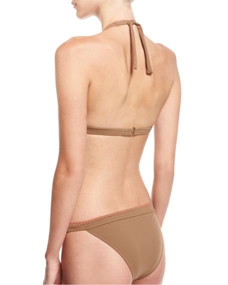 Whipstitch Halter Bikini Swim Top, Brown