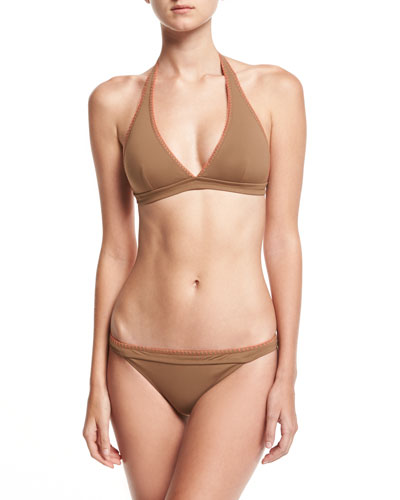 Whipstitch Halter Bikini Swim Top, Brown and Matching Items