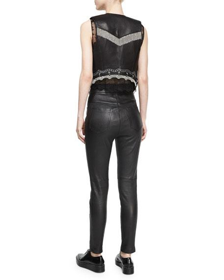 Chain-Trim Leather Western Vest, Black