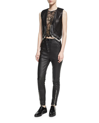 Chain-Trim Leather Western Vest, Black and Matching Items
