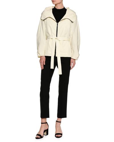 Techno Gabardine Parka Jacket, Ivory and Matching Items