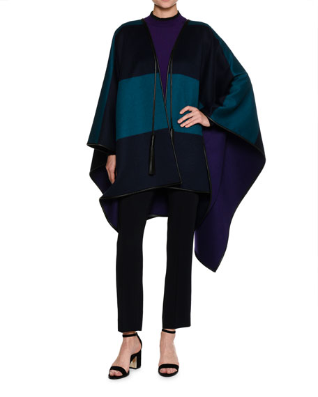 Reversible Wool Melton Cape with Leather Trim, Navy/Turquoise