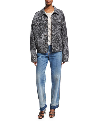Oversized Lace-Print Denim Bomber Jacket, Black and Matching Items