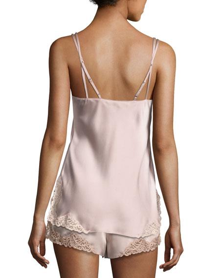 Feathers Lace-Trim Satin Lounge Shorts