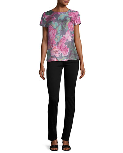 Floral Silk Cap-Sleeve Tee, Pink Multi and Matching Items