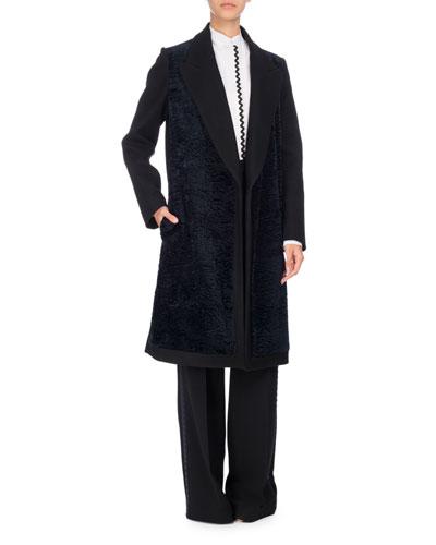 Rickrack Tuxedo-Stripe Wide-Leg Pants, Black/Blue and Matching Items