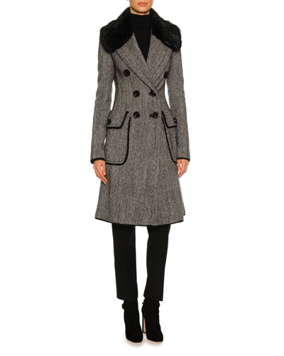 Double-Breasted Tweed Fur-Collar Coat, Gray and Matching Items
