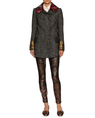 Double-Breasted Tweed Jacket with Floral Trim, Gray and Matching Items