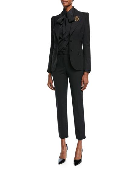 Virgin Wool Blazer with Crest, Black
