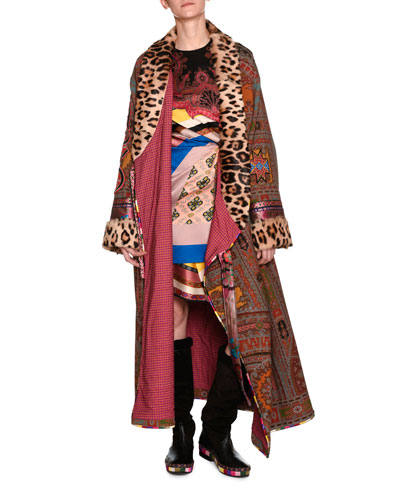 Printed Robe Coat with Fur Lapel & Cuffs, Red and Matching Items