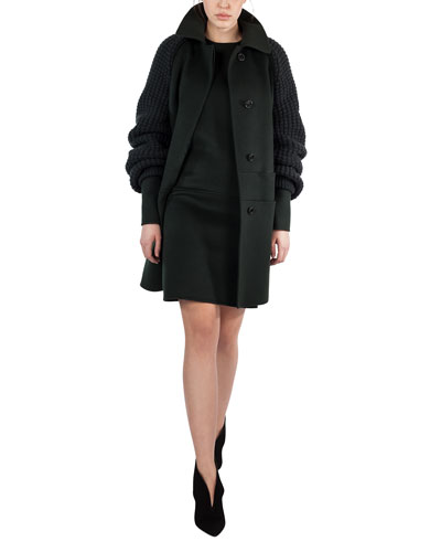 Marais Textured-Sleeve Double-Face Coat, Shadow (Green) and Matching Items