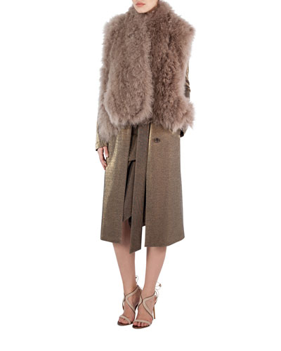 Alpaca Fur A-Line Gilet, Camel and Matching Items