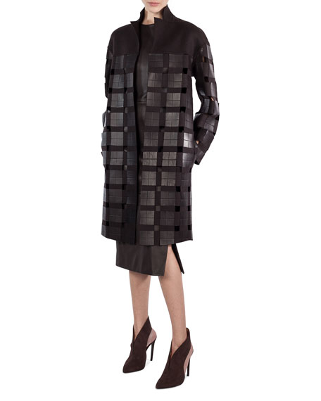 Mila Open-Front Coat with Leather Squares, Brown