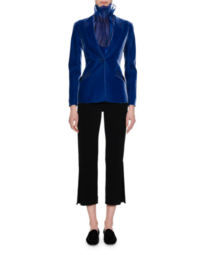 Velvet Single-Button Jacket, Royal Blue and Matching Items