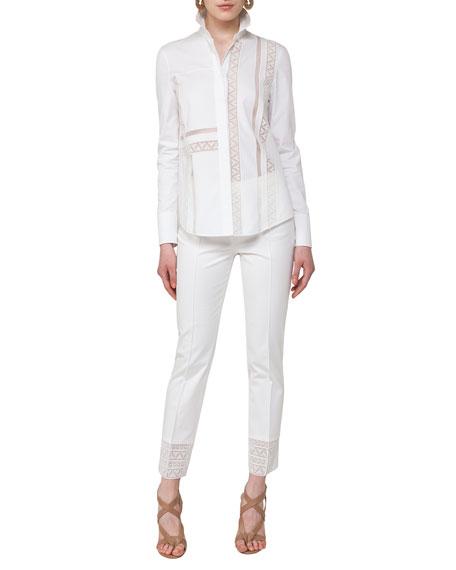 Lace-Trim Stretch-Cotton Pants, Taupe