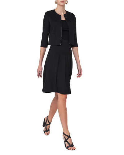 High-Waist Pleated A-Line Skirt, Black and Matching Items