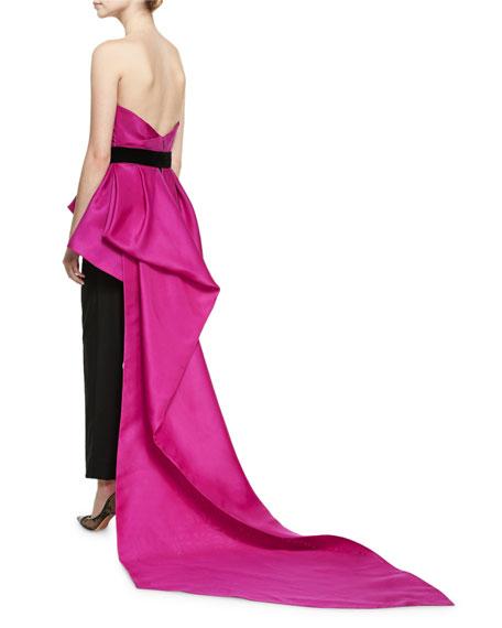 Strapless Peplum Top with Velvet Ribbon, Bright Pink/Black