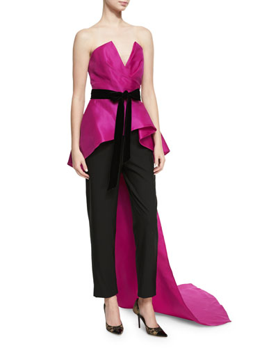 Strapless Peplum Top with Velvet Ribbon, Bright Pink/Black and Matching Items