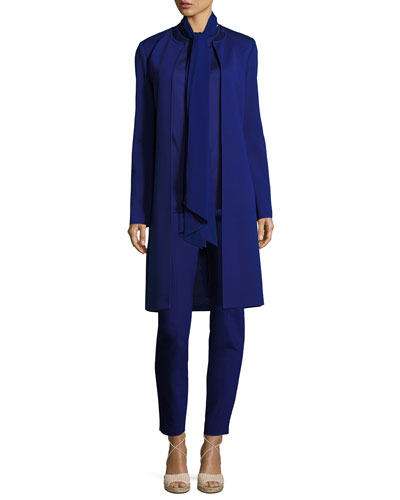 Satin Shell with Chiffon Neck Tie, Cobalt  and Matching Items