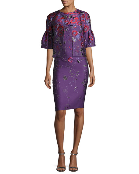 Hania Floral Jacquard Cocktail Sheath Dress
