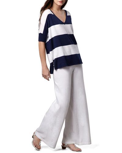 Wide-Leg Palazzo Knit Pants, White, Plus Size  and Matching Items