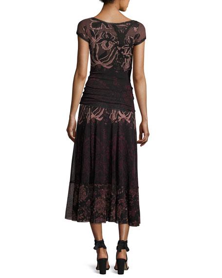 Cap-Sleeve Floral Lace-Print Top, Black/Pink