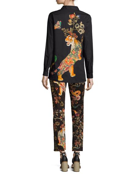 Tiger-Print Stretch Cotton Shirt, Black