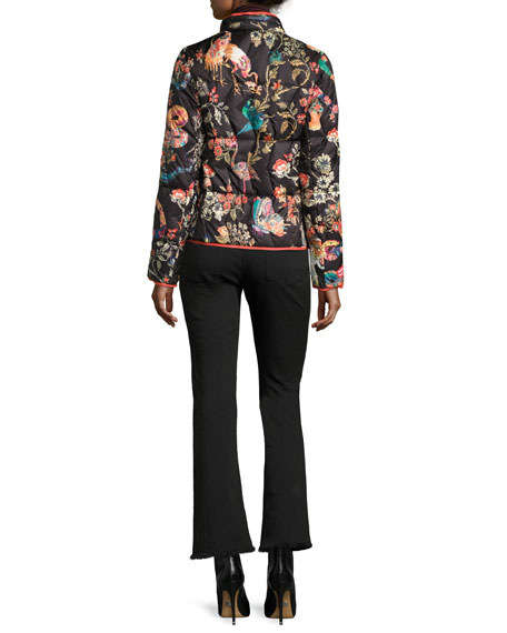 Floral-Embroidered Kick-Flare Jeans with Fringe Hem, Black