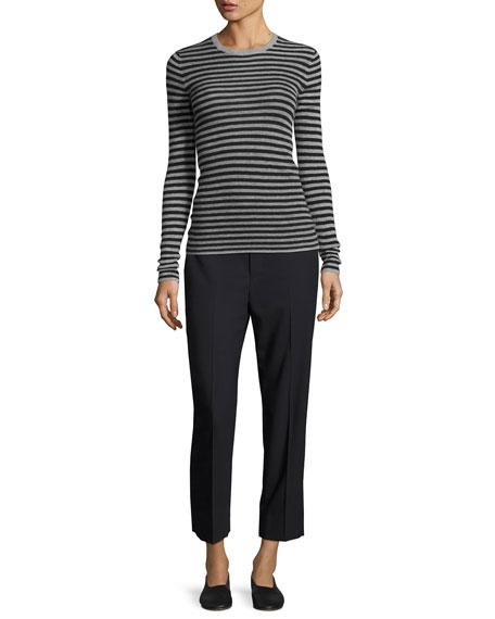 Striped Rib Cashmere Crewneck Sweater