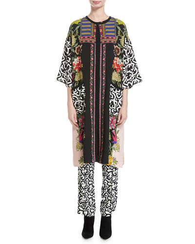 Floral & Geometric-Print Silk Tunic, Pink/Multicolor and Matching Items