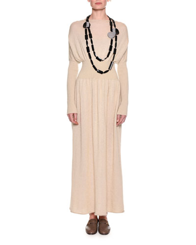 Long-Sleeve Wool-Mohair Sweater Gown, Neutral and Matching Items