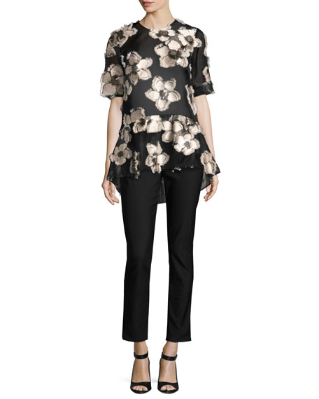 Floral Fil Coupé Short-Sleeve Top, Blush/Black