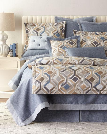 Queen Maze Chambray Blue Duvet Cover