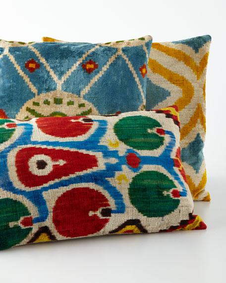 Red Green And Blue Throw Pillows : Red/Green/Blue Silk Velvet Pillow, 24