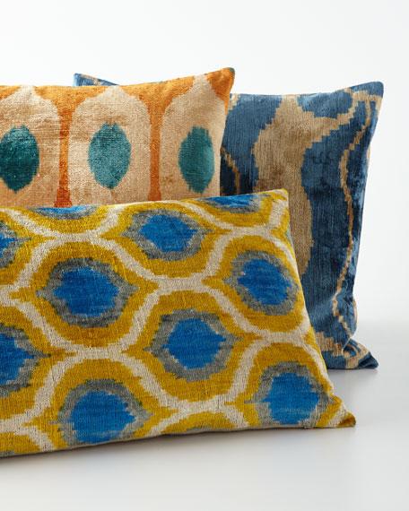 """Orange Silk Velvet Pillow, 20""""Sq."""