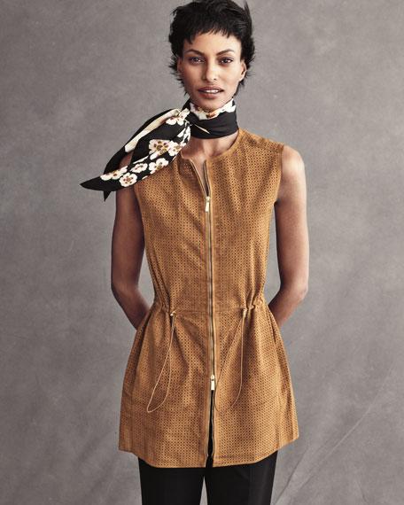 Artful Floral Silk Scarf, Black Multi