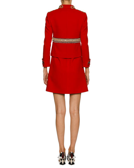 Chain-Embellished Wool Jacket, Red