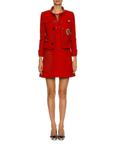 Chain-Embellished Wool Jacket, Red and Matching Items