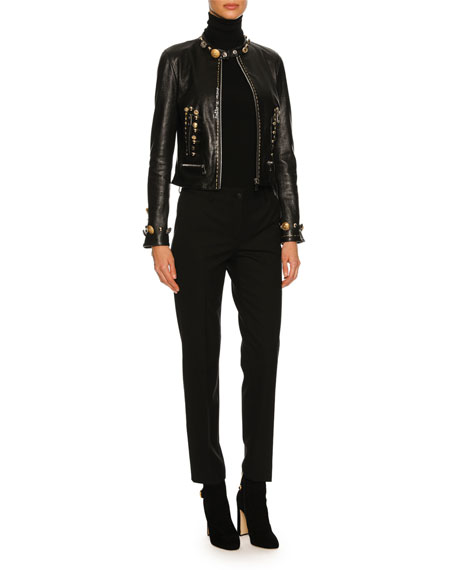 Button-Embellished Leather Café Racer Jacket, Black