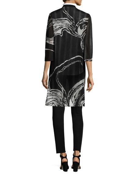3/4 Sleeve Swirl Print Long Knit Jacket, Plus Size