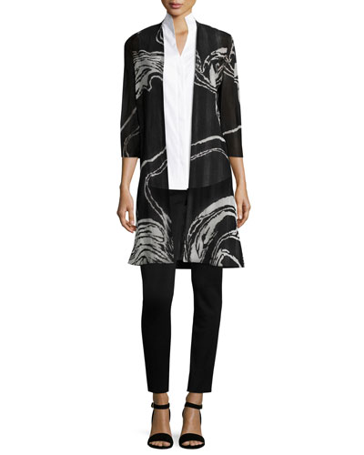 3/4 Sleeve Swirl Print Long Knit Jacket, Plus Size and Matching Items