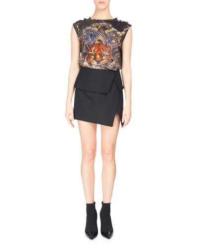 Fold-Over Asymmetric Miniskirt, Black and Matching Items
