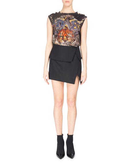 Fold-Over Asymmetric Miniskirt, Black
