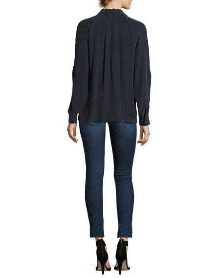 Le Skinny Raw Stagger Zip Jeans, Blue
