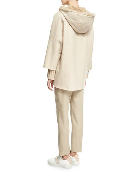 Herringbone Sporty Ankle Pants, Camel